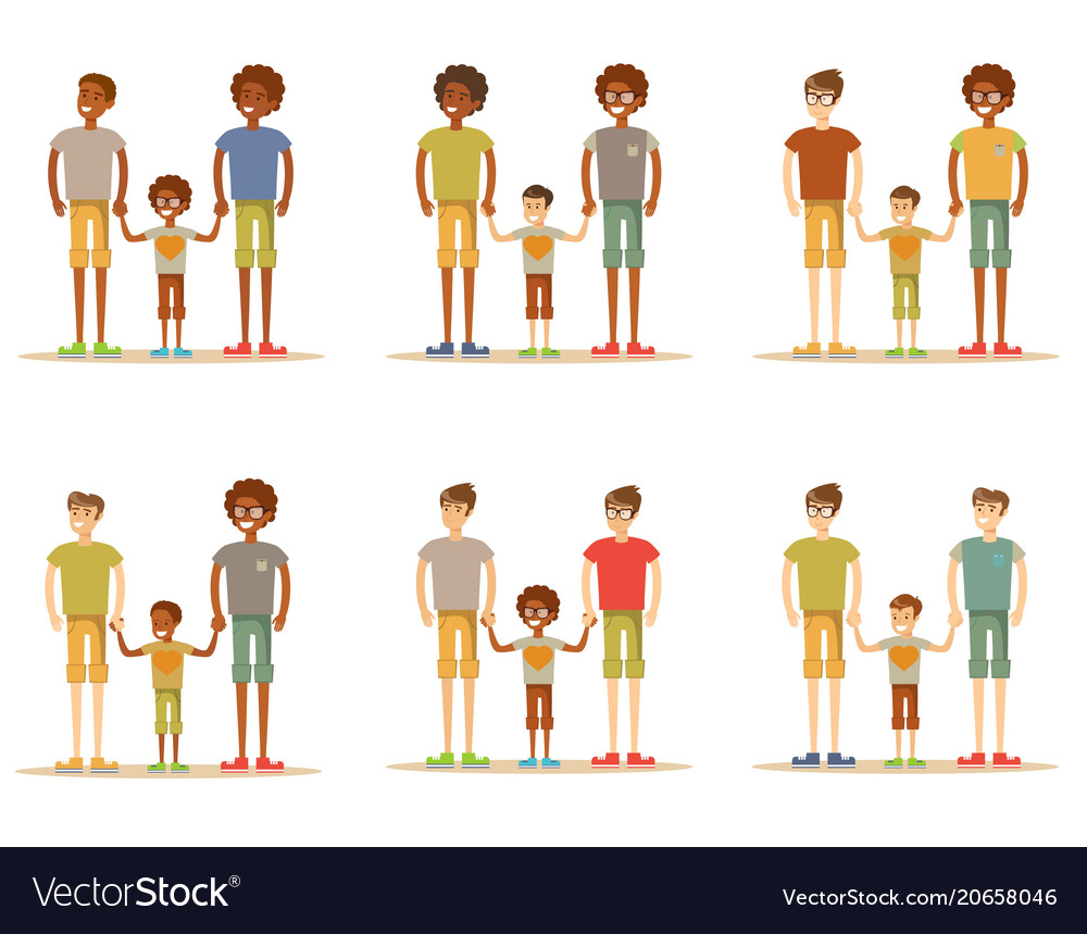Happy male gay couple with foster son vector image