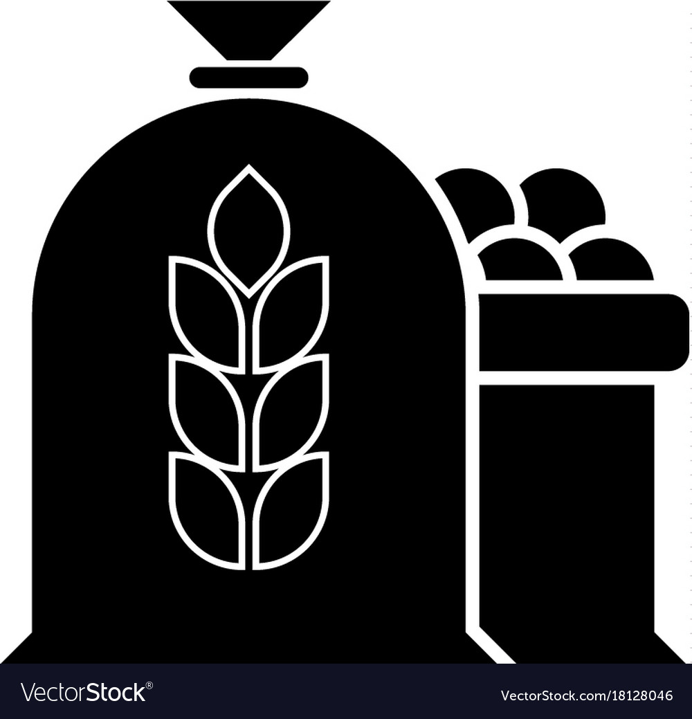 Harvest wheat apple bag icon vector image