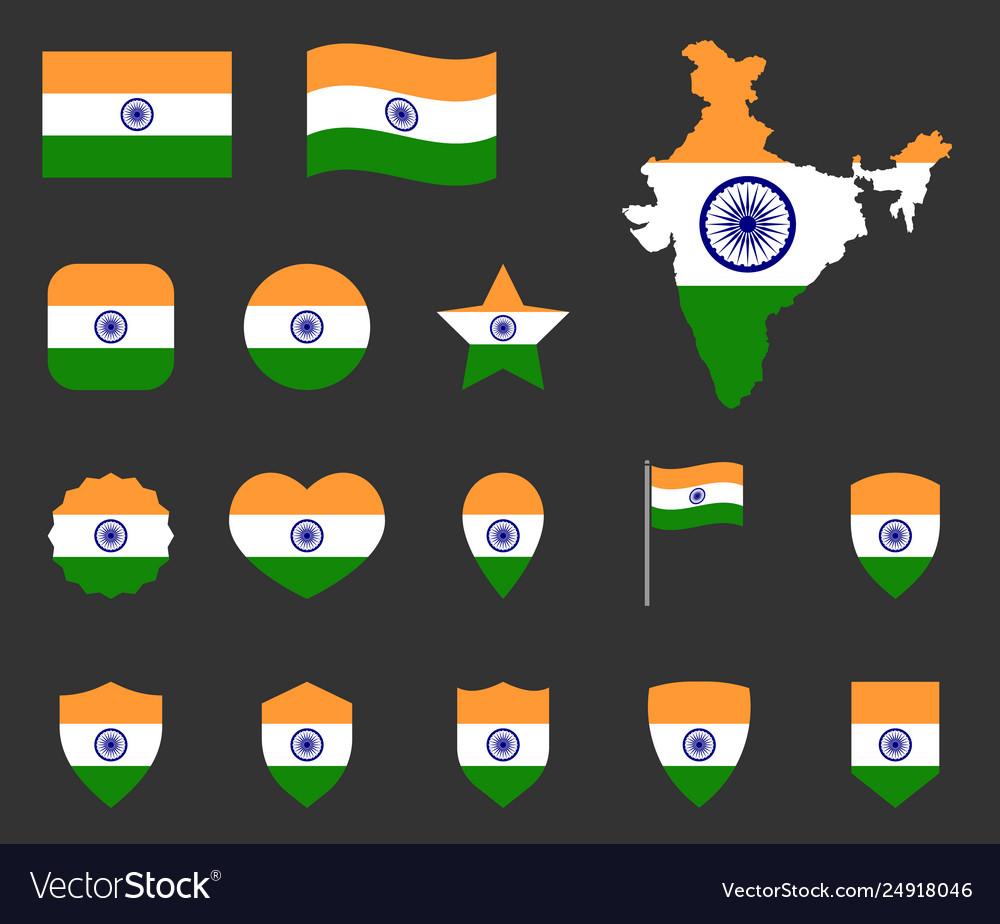India flag icons set symbols flag of