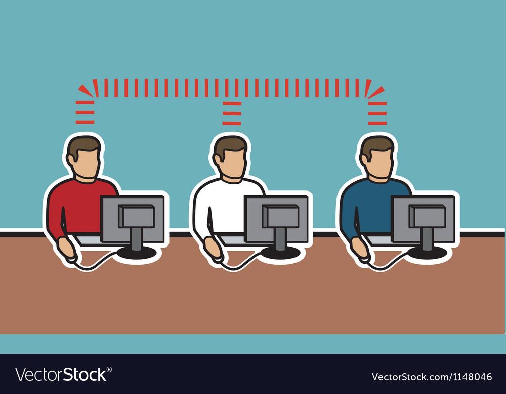 Network of computer men