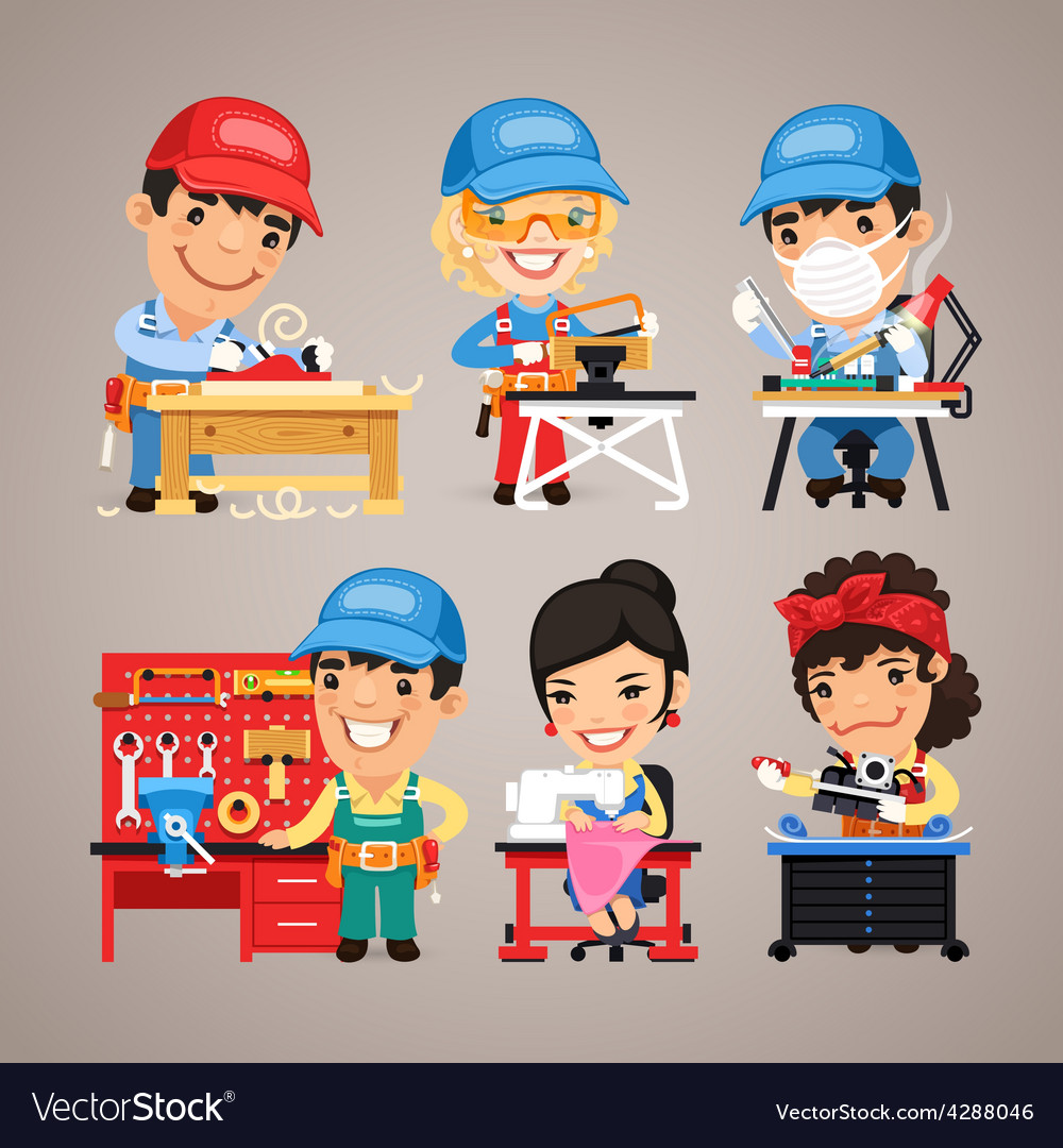 Set of Cartoon Workers at their Work Desks vector image