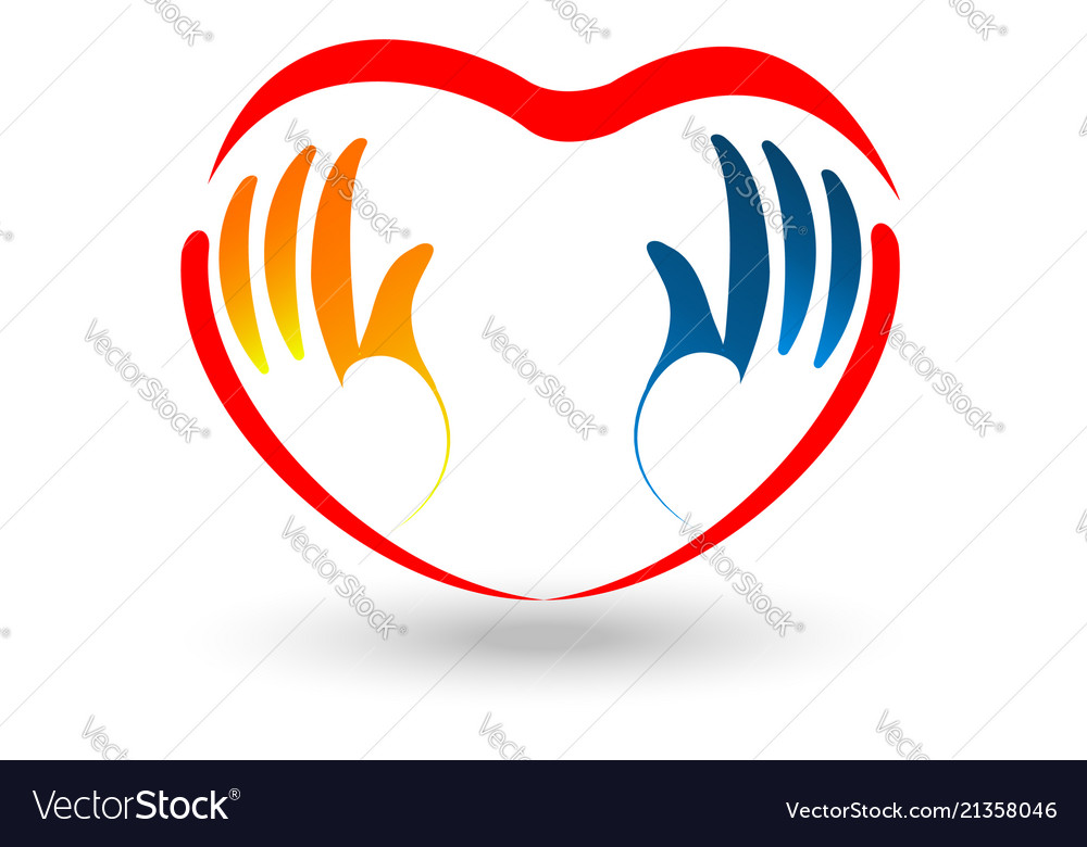 Valentine caring heart and hand logo