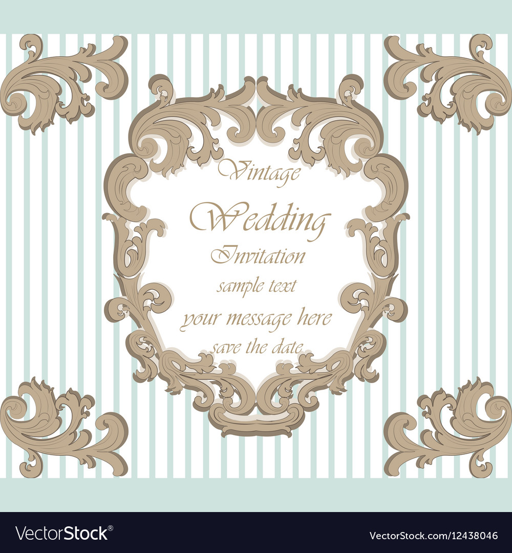 Wedding invitation card with classic ornaments vector image junglespirit Image collections