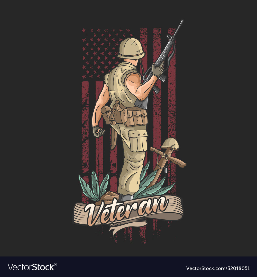 American soldier with weapons welcomes victory