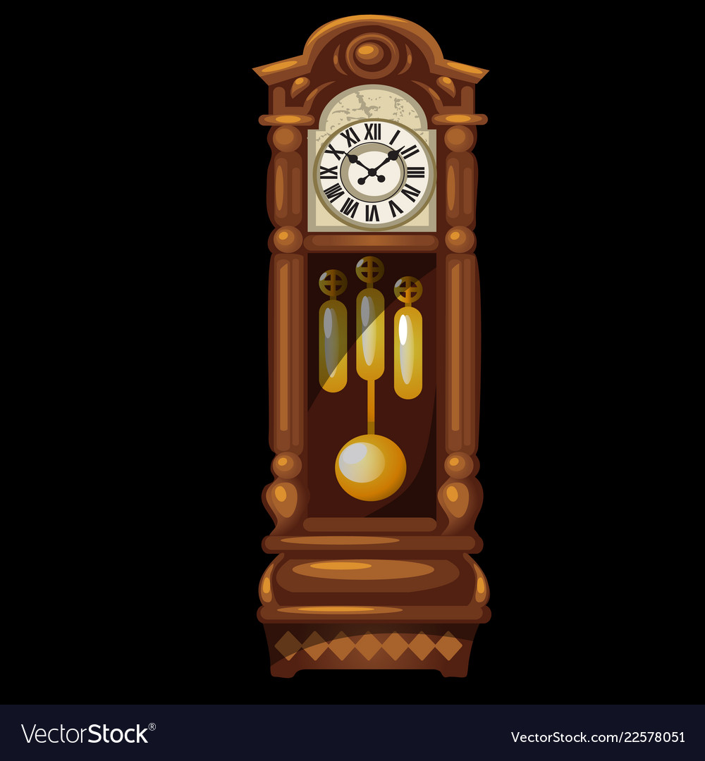 Antique wooden grandfather clock isolated on a