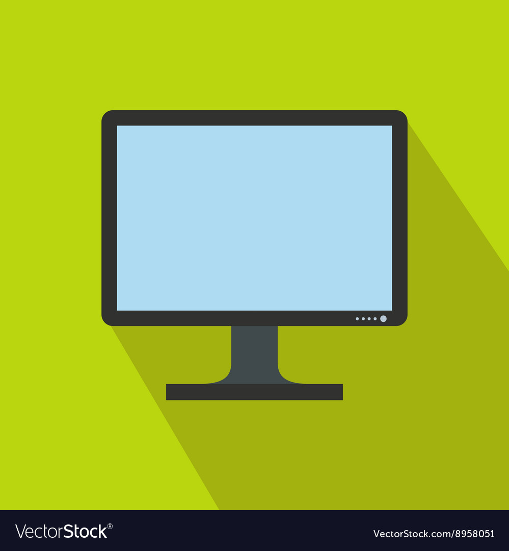 Blank computer monitor icon flat style