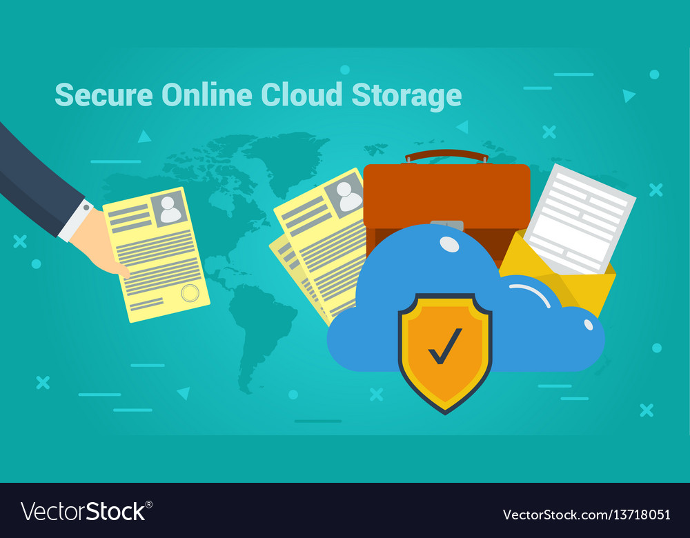 Business banner - secure online cloud storage vector image