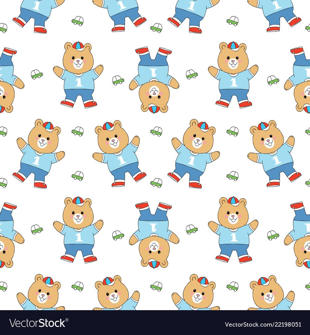 Cartoon cute bear and toy seamless pattern