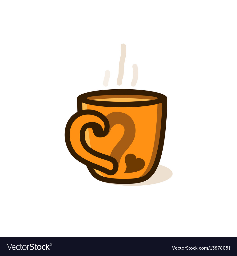 Cup of coffee or tea with smoke with heart vector image