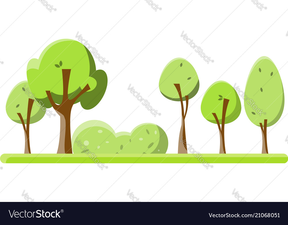 Flat green trees set