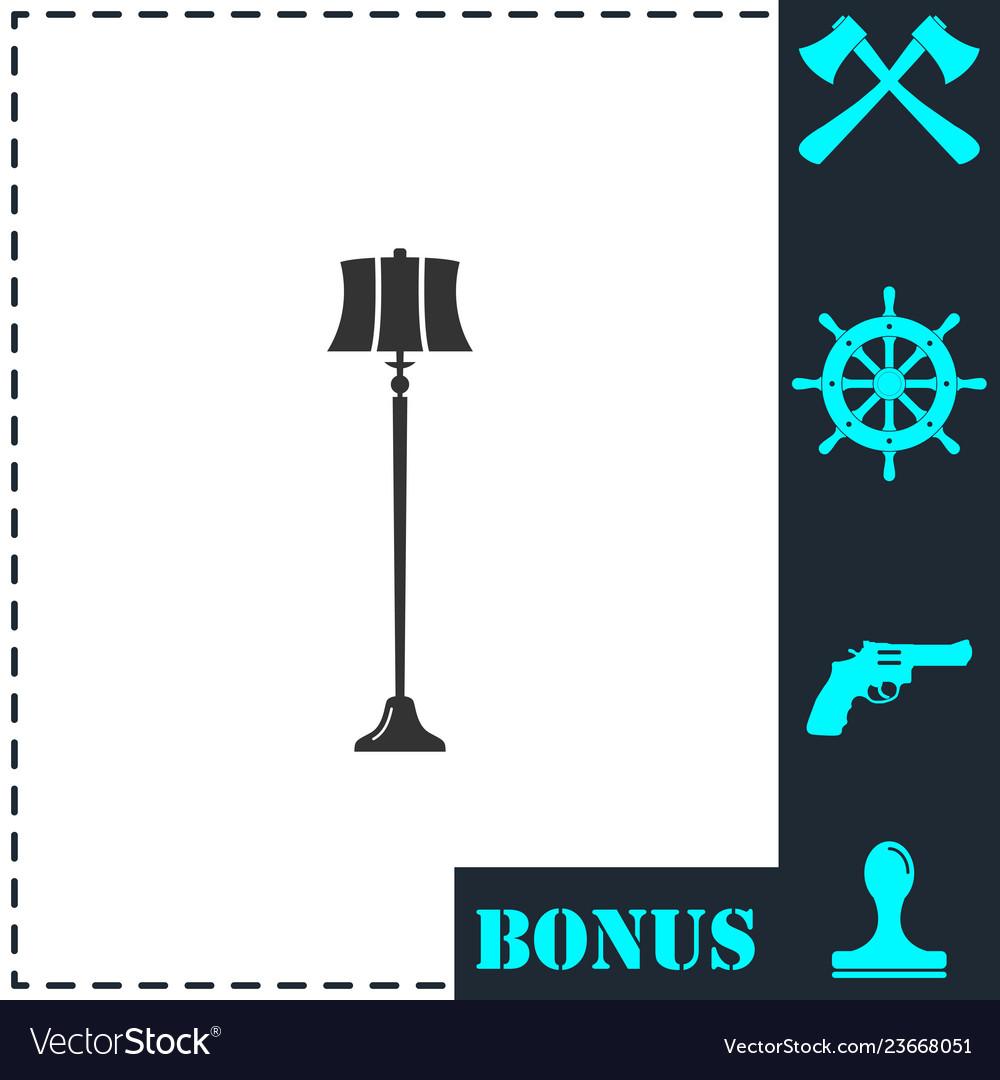 Floor lamp icon flat