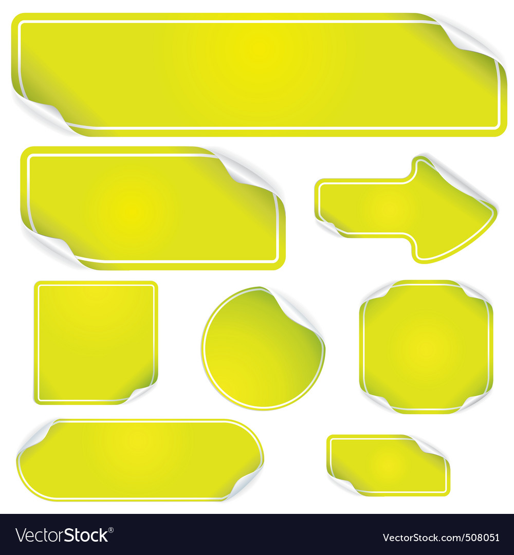 Fresh green stickers set vector image