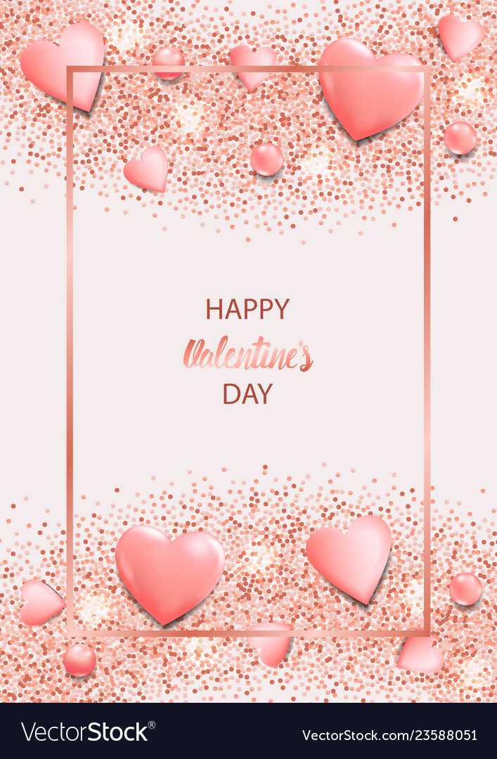Happy valentines day greeting card with pink