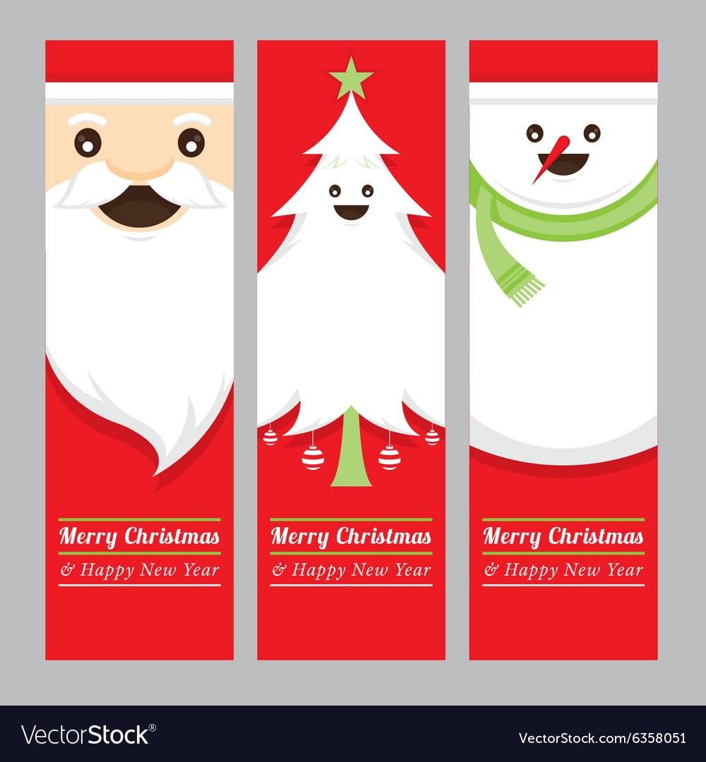 Santa Claus Tree Snowman Banner