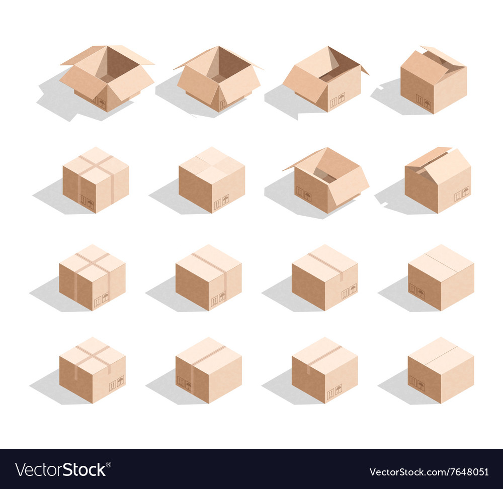 Set of 16 realistic isometric cardboard boxes with