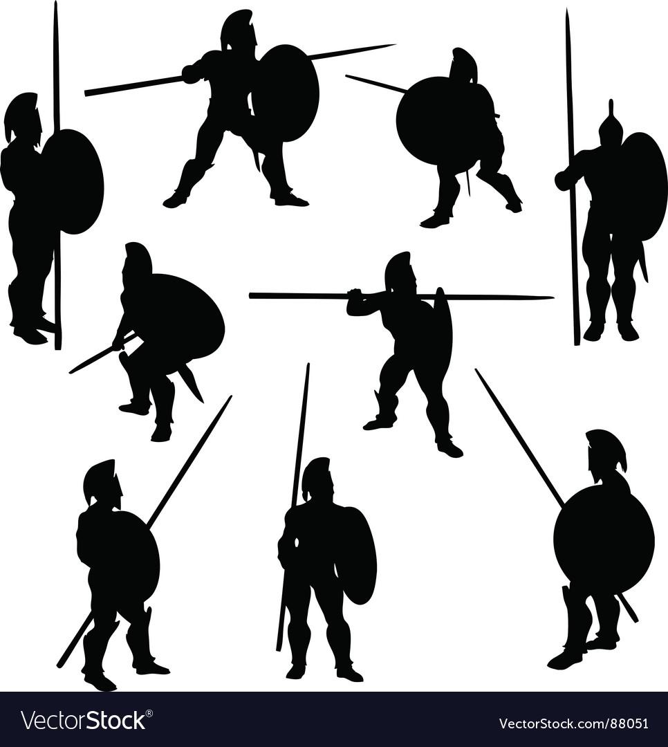 Spartan hoplite silhouettes vector image
