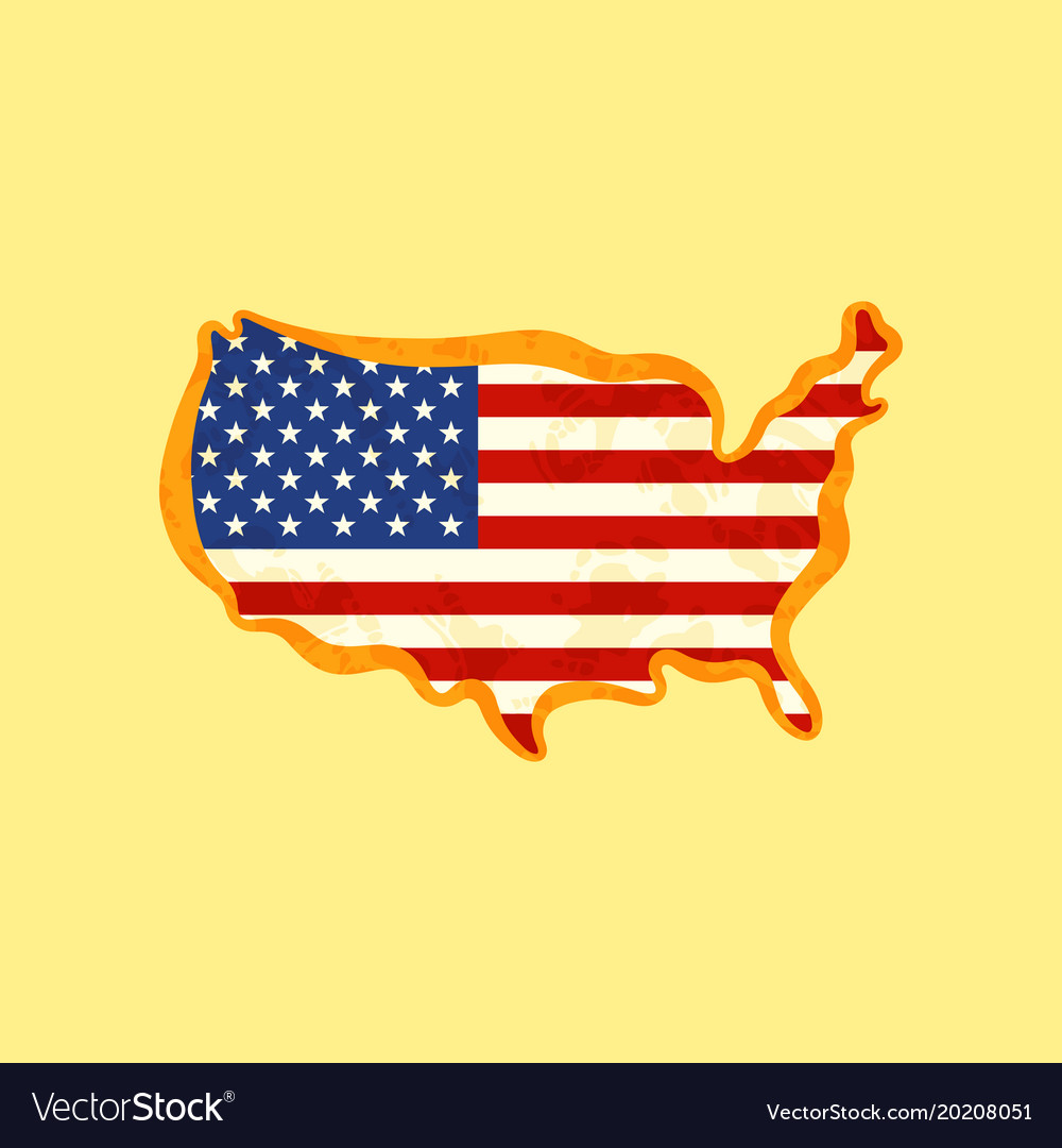 United states - map colored with us flag Vector Image