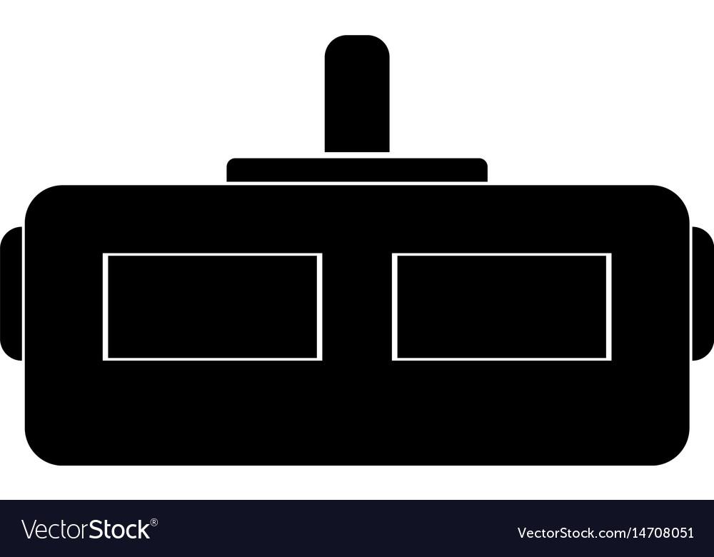 Virtual reality helmet black icon vector image