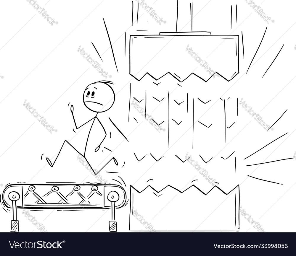 Cartoon man or businessman running on conveyor
