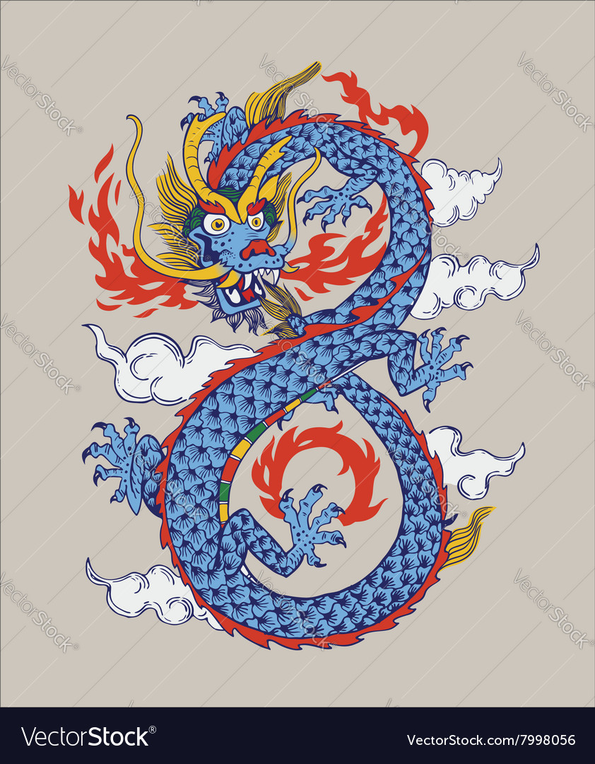 Colorful of Chinese oriental Dragon