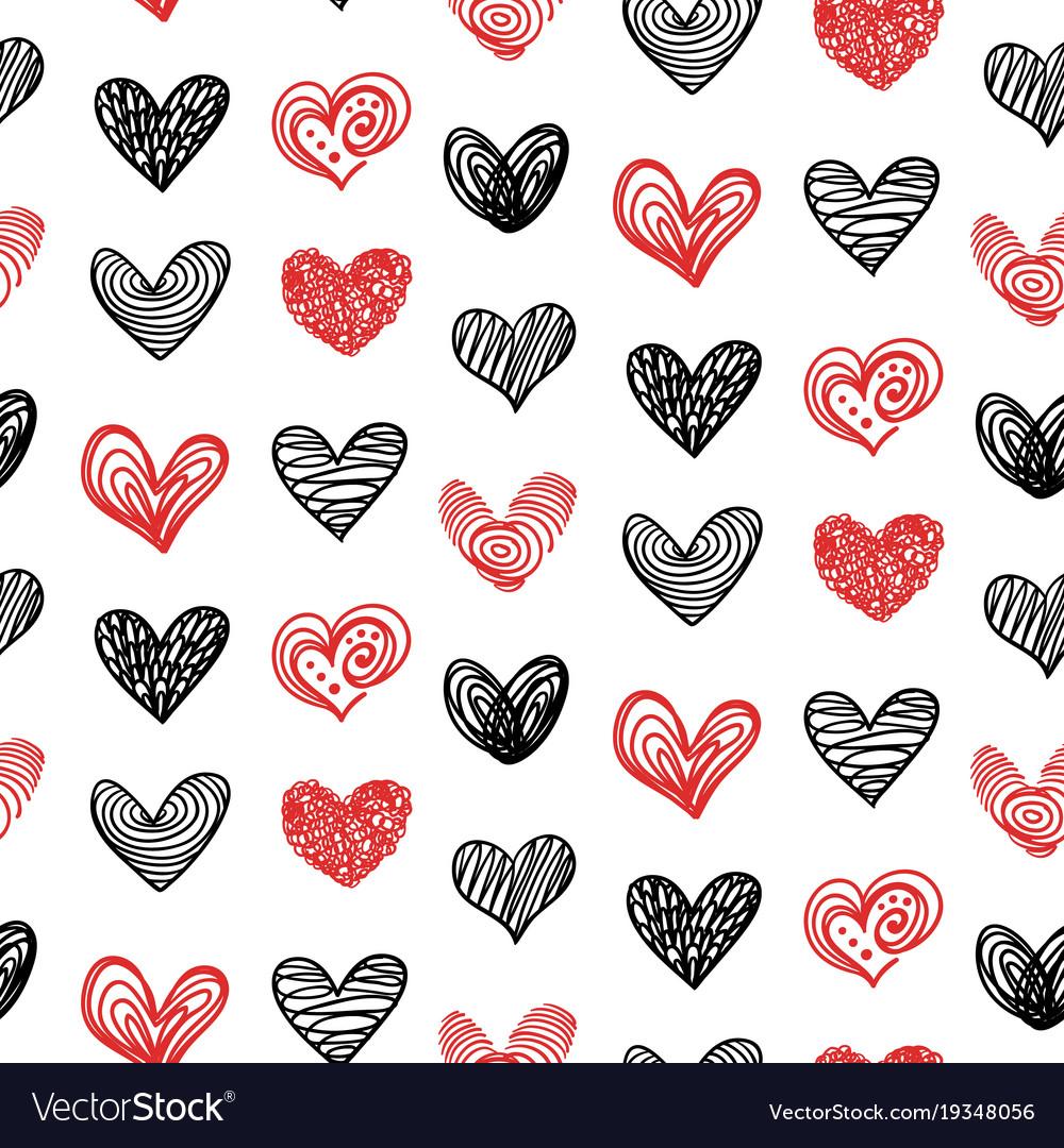 Doodle hand drawn valentine heart seamless pattern