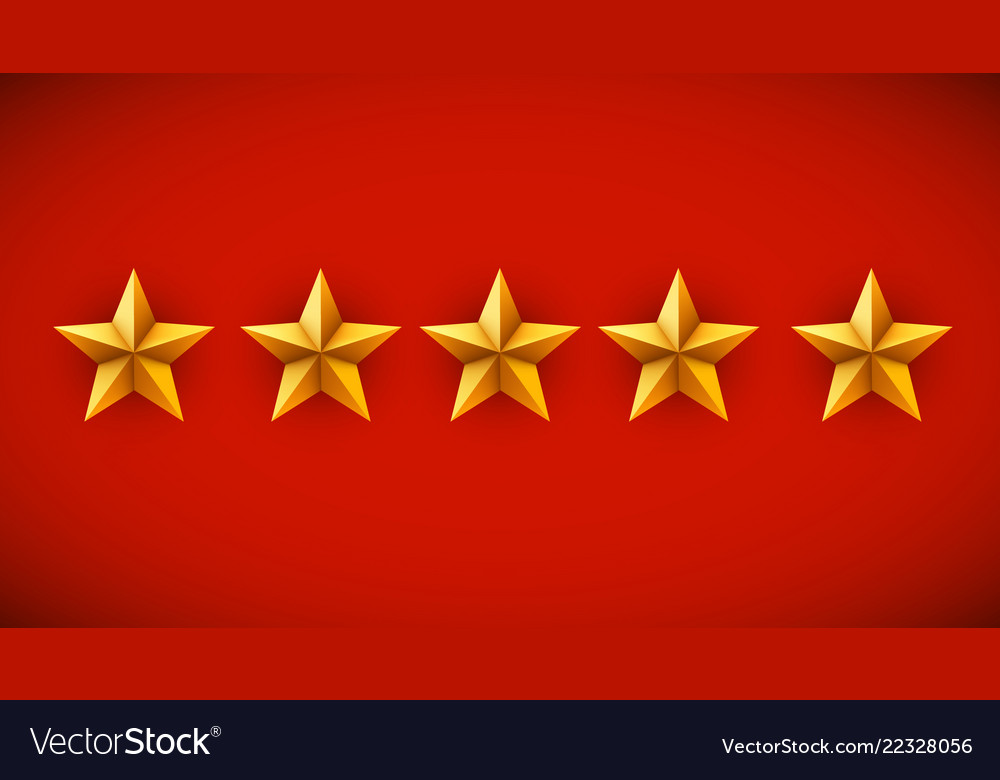 Five golden stars on red background rating rank