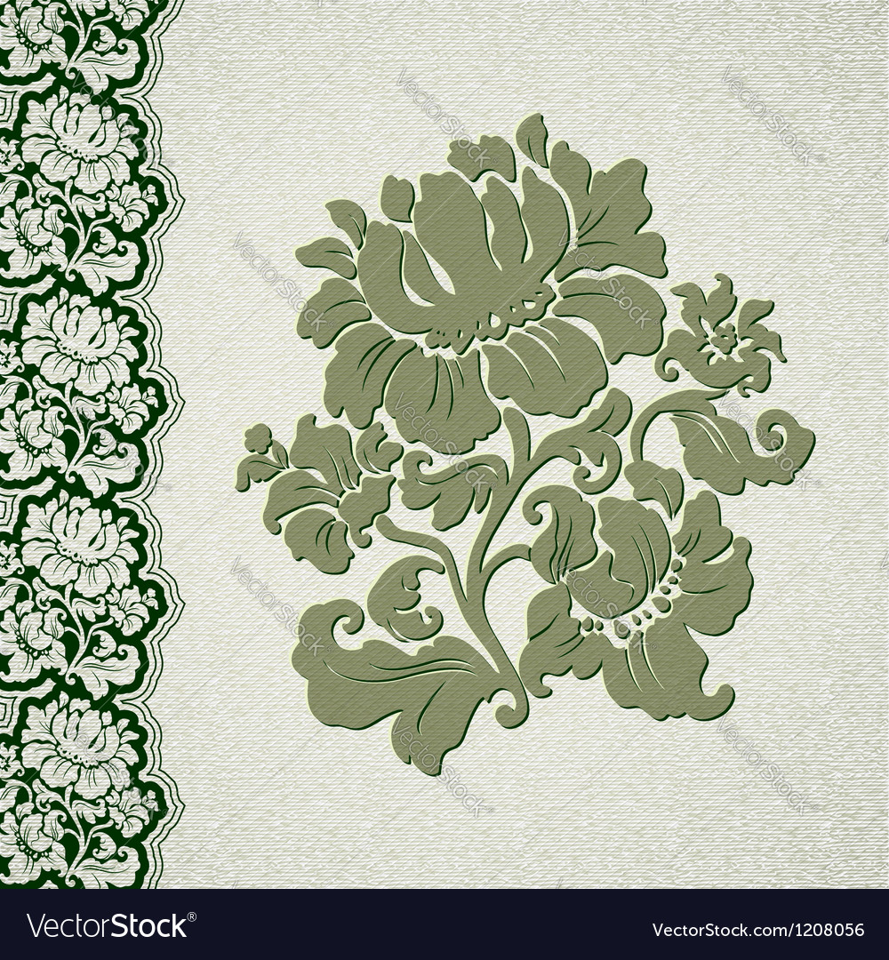 Flower and border vintage lace vector image