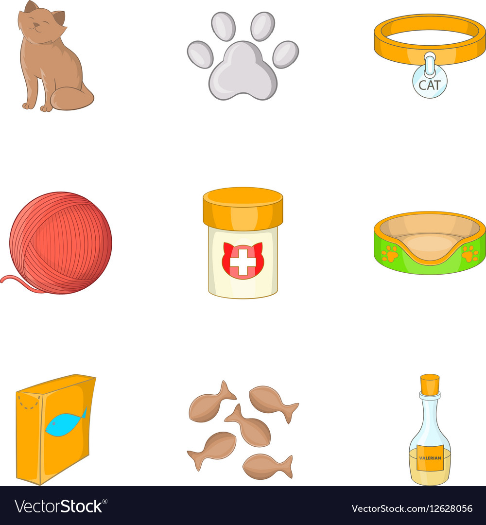 Happy cat icons set cartoon style vector image