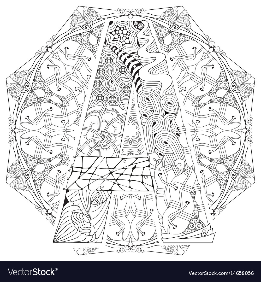 Mandala with letter a for coloring vector image