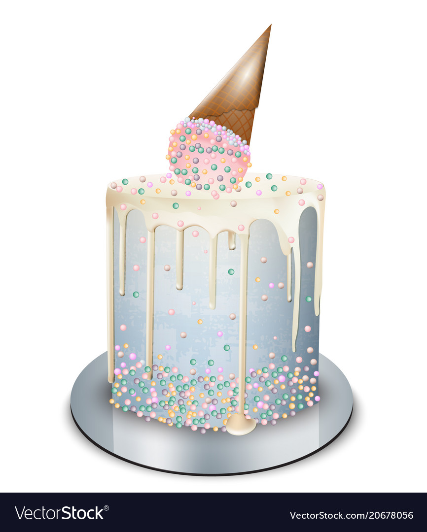 Remarkable Modern Cake Ice Cream Cone On Top Realistic Vector Image Funny Birthday Cards Online Alyptdamsfinfo