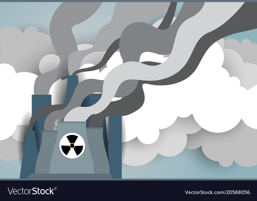 Nuclear energy plant or factory with smoking tow