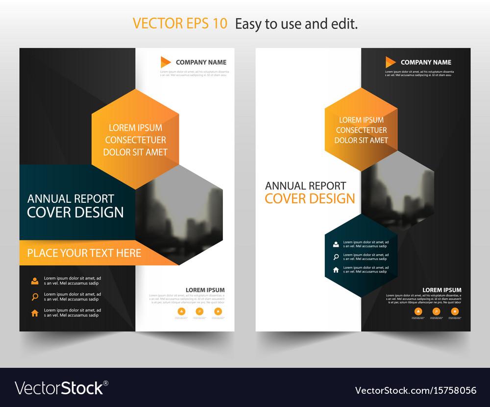 Orange black hexagon annual report brochure
