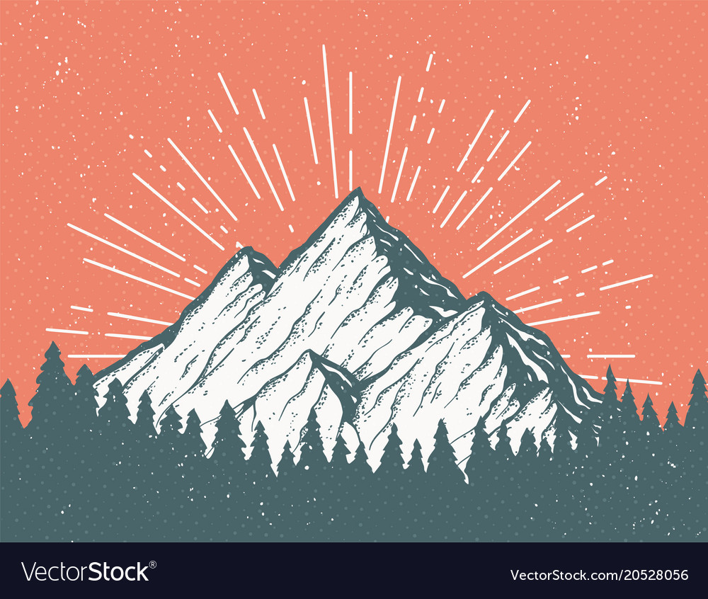 retro mountain postcard royalty free vector image