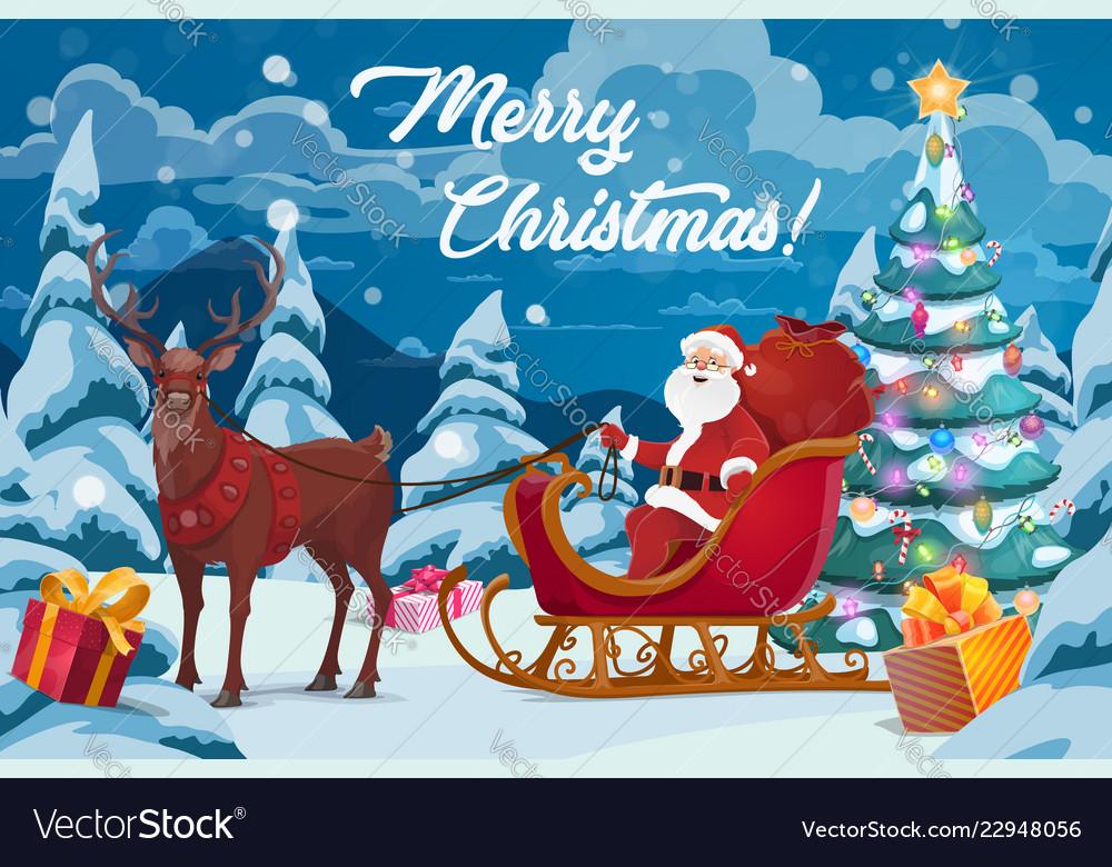 santa christmas gifts tree and reindeer sleigh vector image