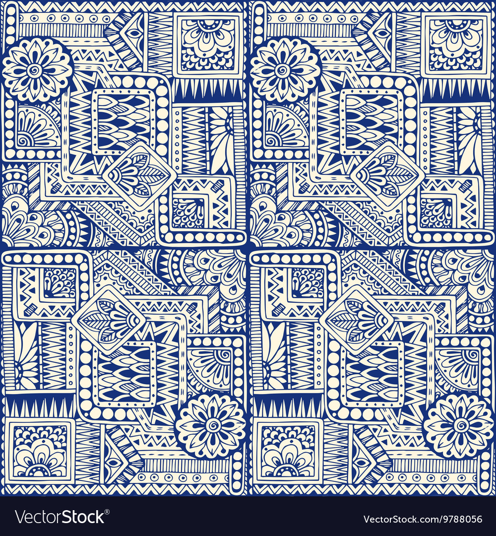 Seamless asian ethnic floral retro doodle blue vector image