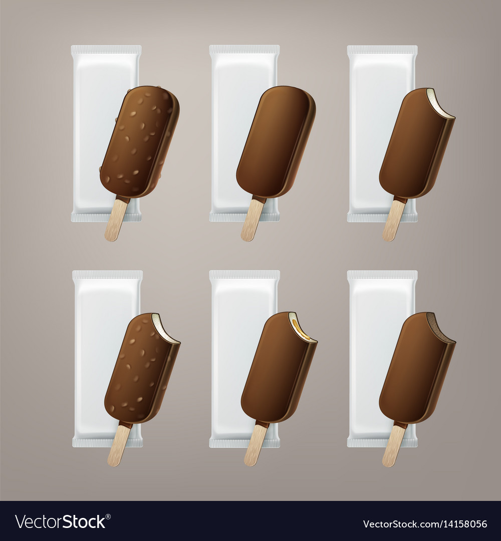 Set of ice cream in glaze on stick with nuts