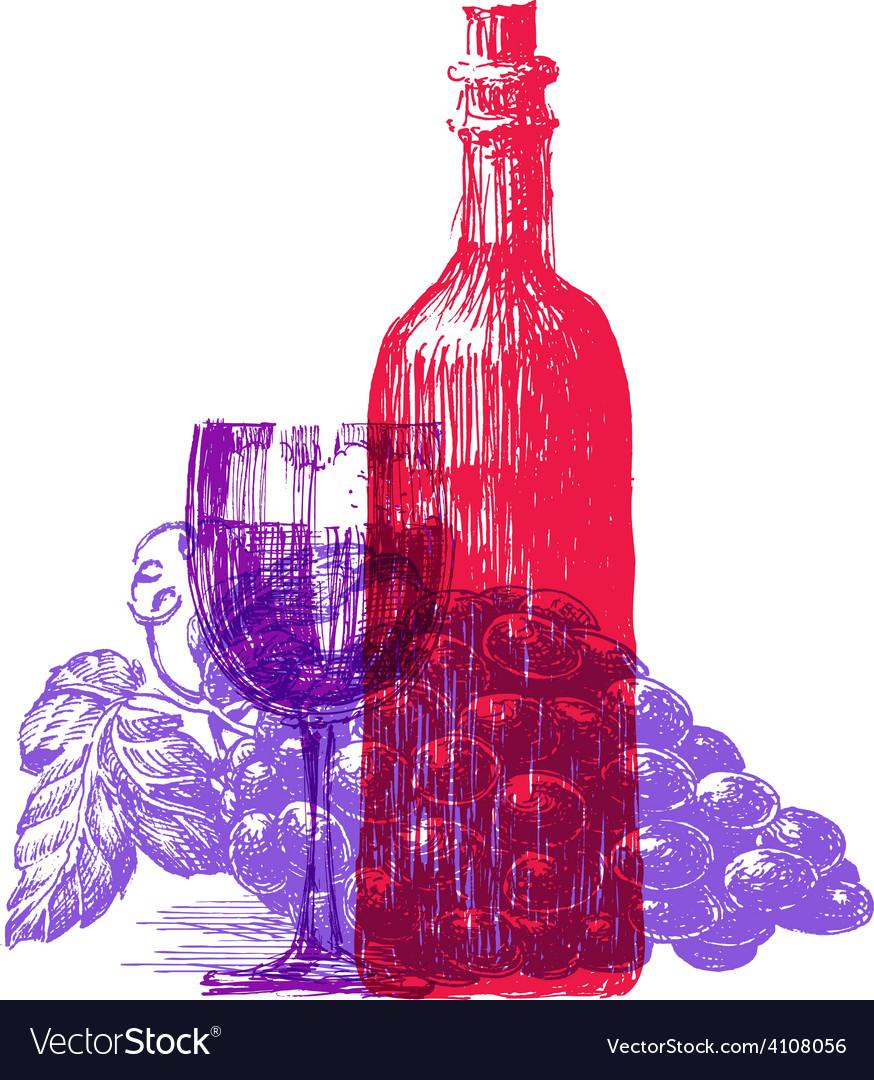 Wine logo design template grapevine or