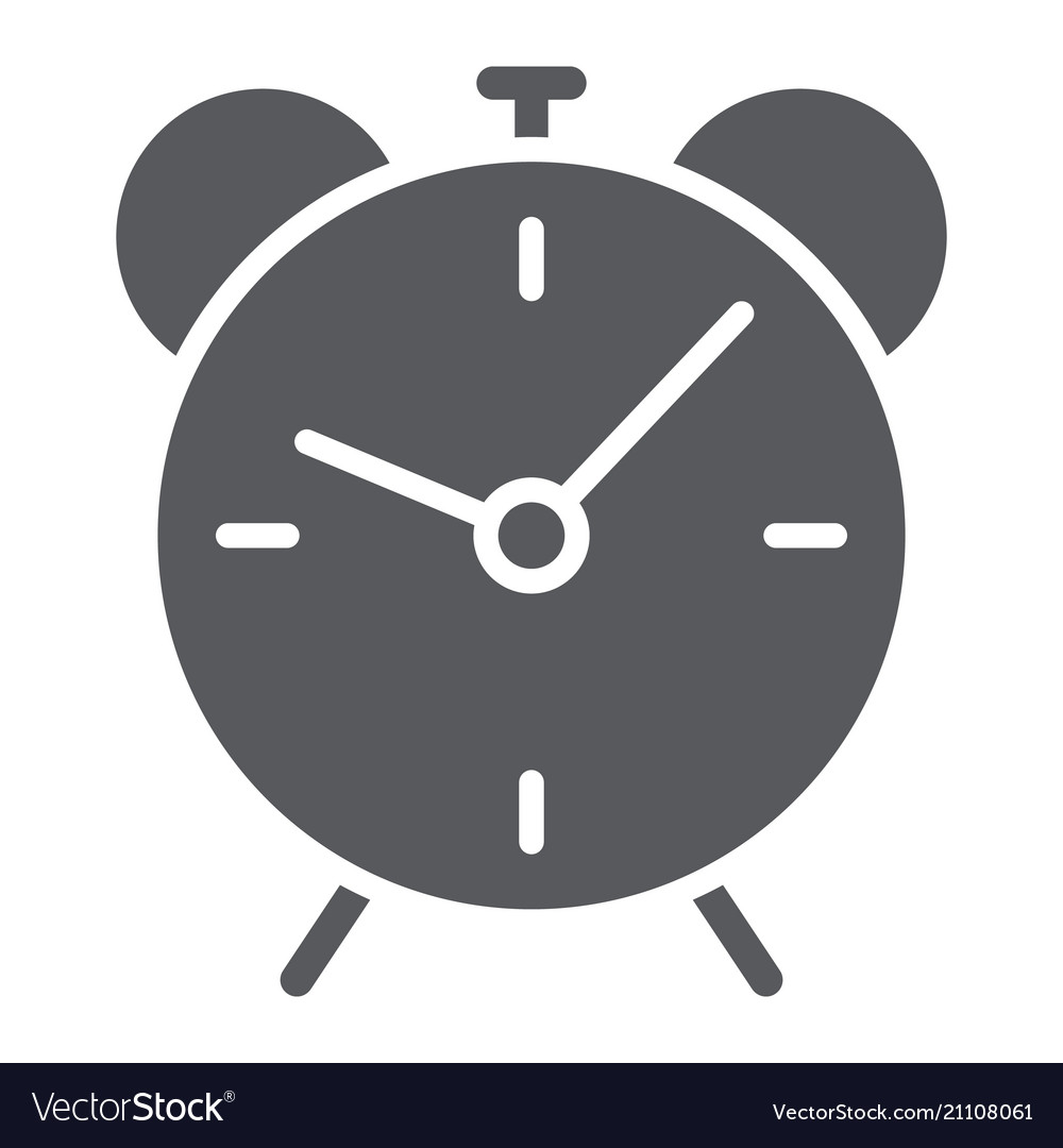 Alarm clock glyph icon time and hour deadline