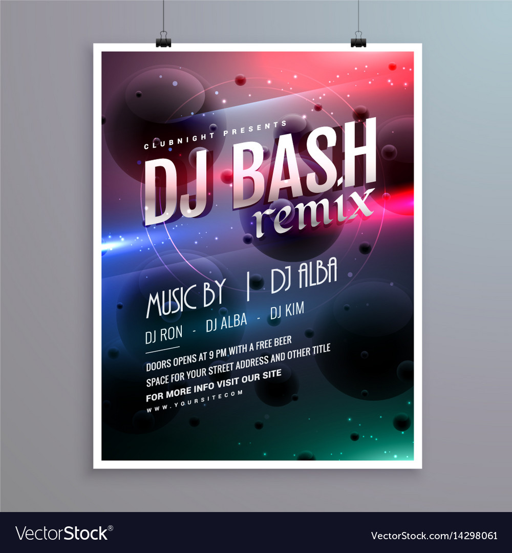 Creative music flyer template with abstract vector image