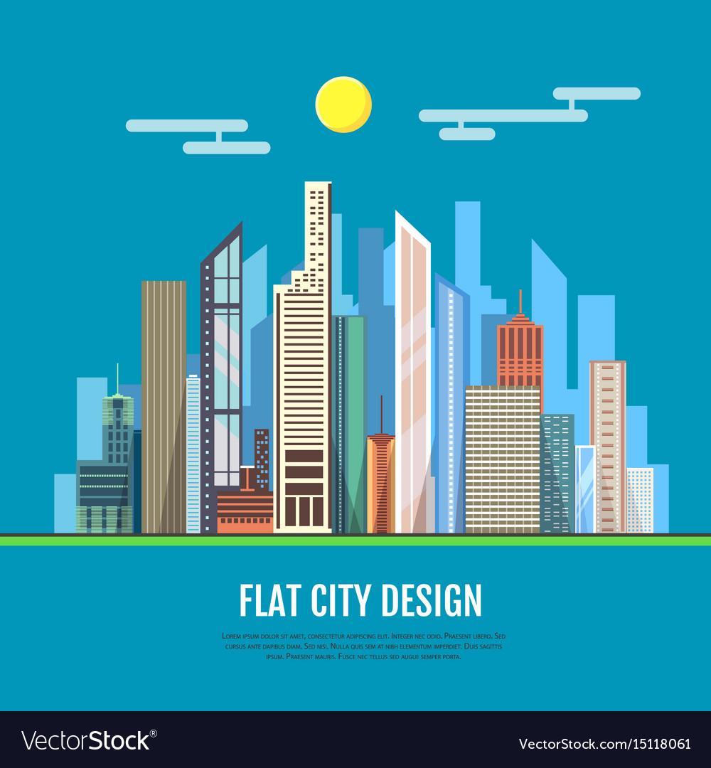 Flat style modern design of urban city landscape