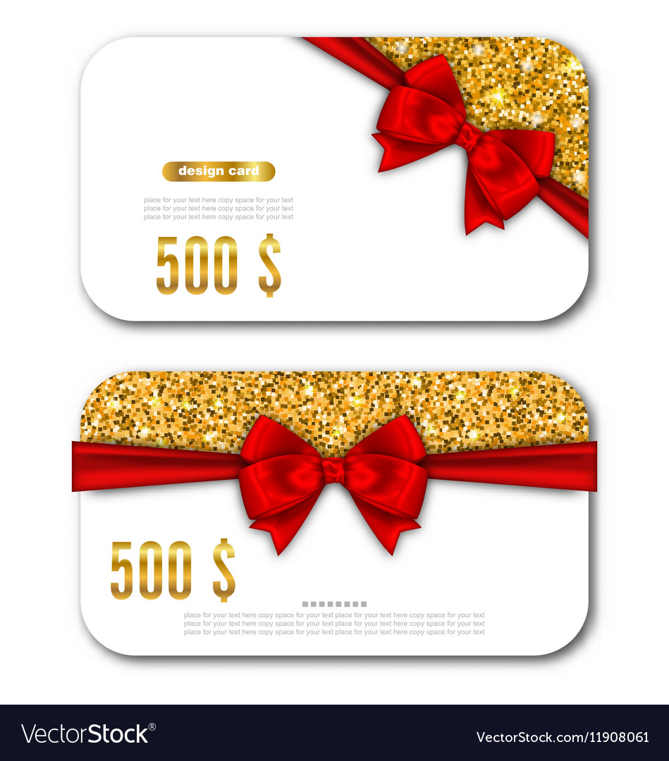 Gift Card Template with Golden Dust Texture and