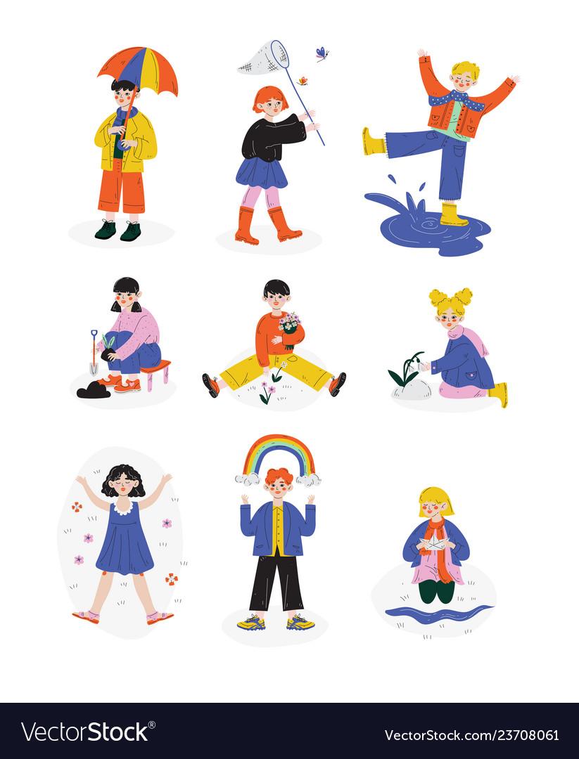 Kids spring or summer outdoor activities set