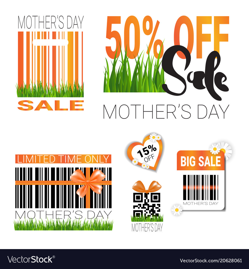 Sale for mothers day badges set isolated special