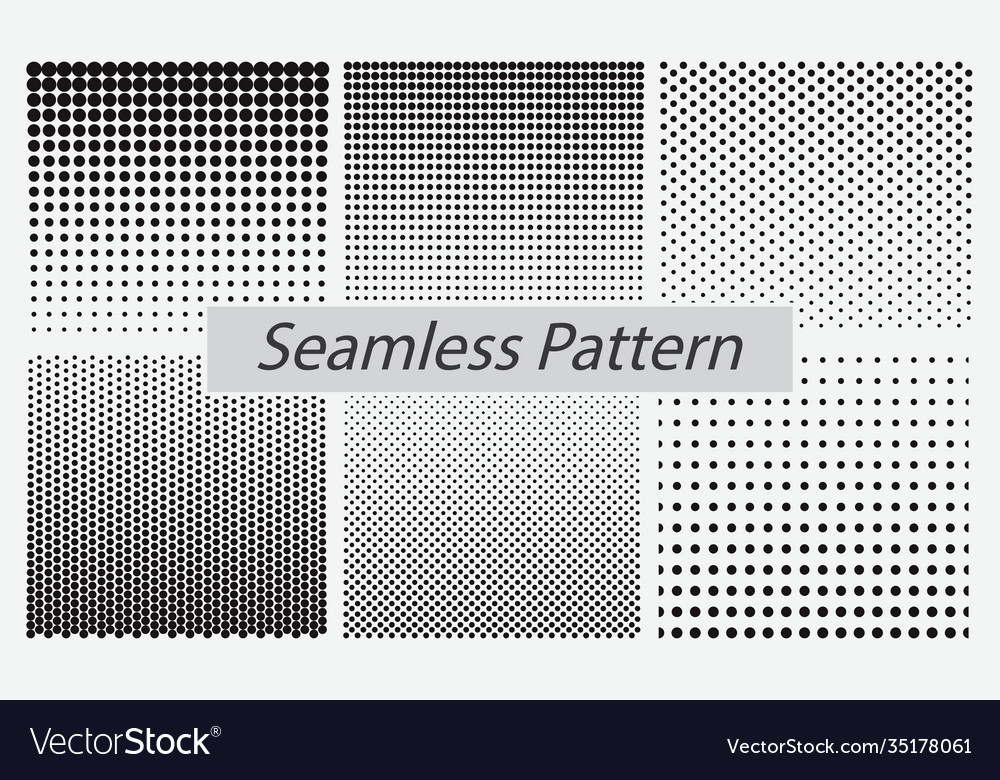 Set dotted seamless pattern or halftone dot