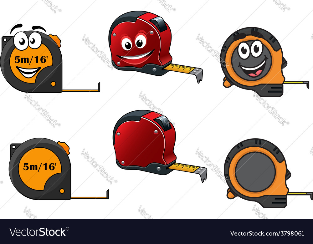 Set of retractable tape measures vector image