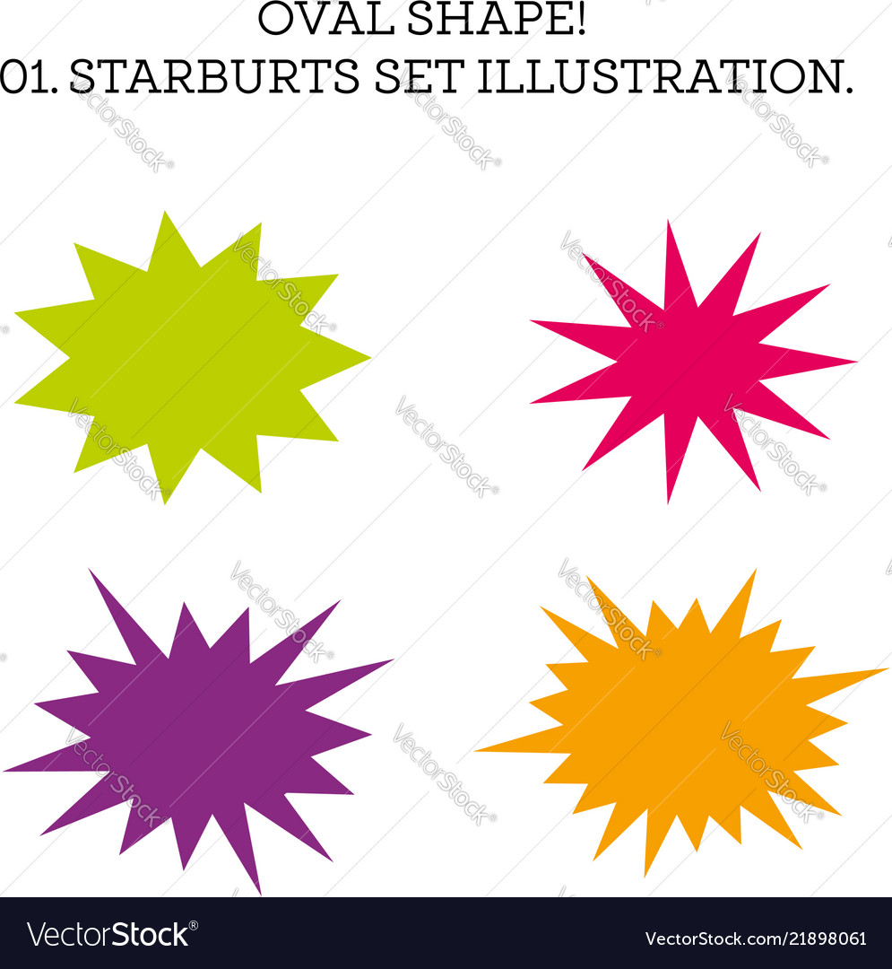 Starburst speech bubble set oval shape