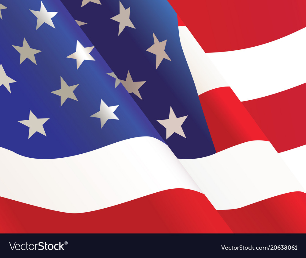 Waving united states usa country flag background vector image