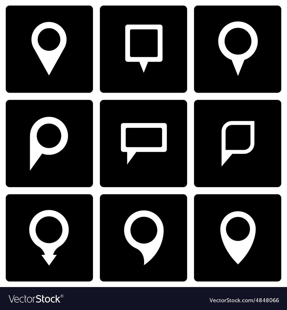 Black map pointer icon set vector image