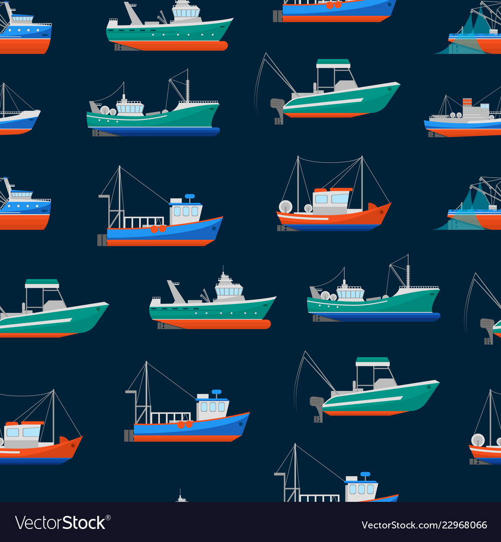Cartoon fishing boats seamless pattern background