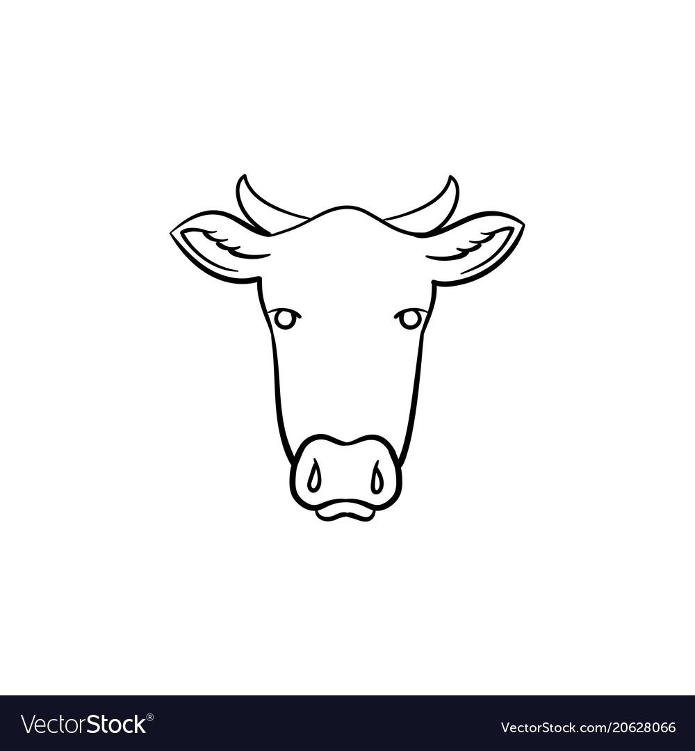 Cow head hand drawn sketch icon vector image